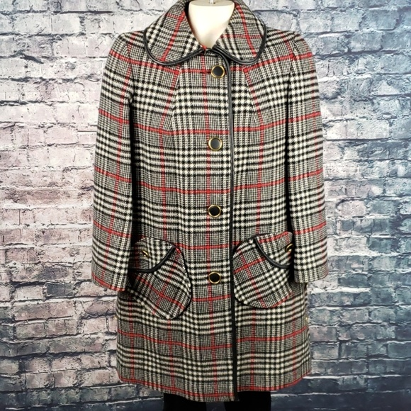 Hibiscus Pizza Jackets & Blazers - Vintage Rounded Collar Woolen Button Coat Large